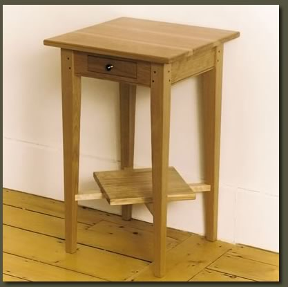 A Delicate Drawer And Angled Shelf Make Our Red Birch End Table Highly Functional Decorative